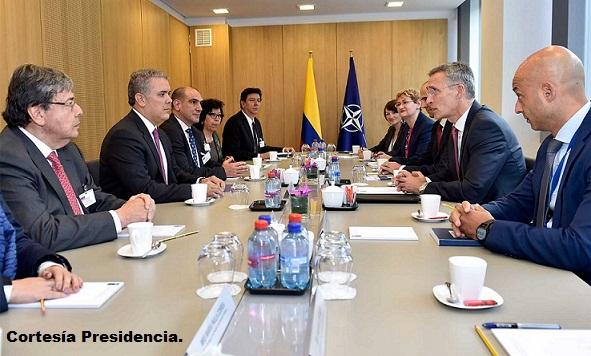 Reunión de trabajo del presidente Iván Duque y el Secretario General de la OTAN, Jens Stoltenberg, junto con sus respectivas delegaciones en Bruselas.
