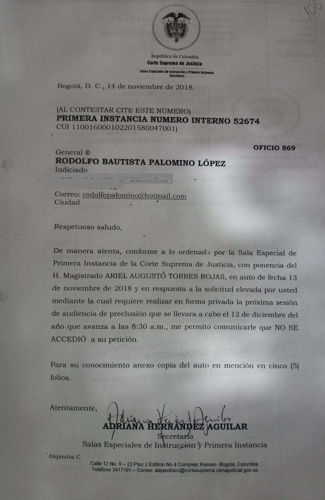 Respuesta de la Corte Suprema de Justicia a solicitud del general Rodolfo Palomnino de hacer audiencias en privado.