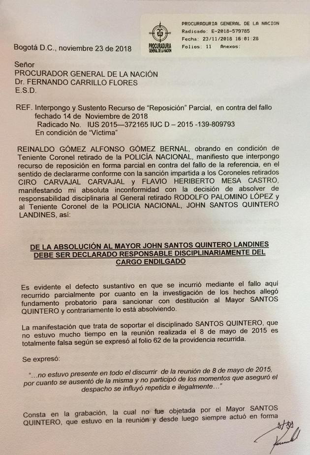 Primera página del recurso de reposición del coronel Reinaldo Gómez.