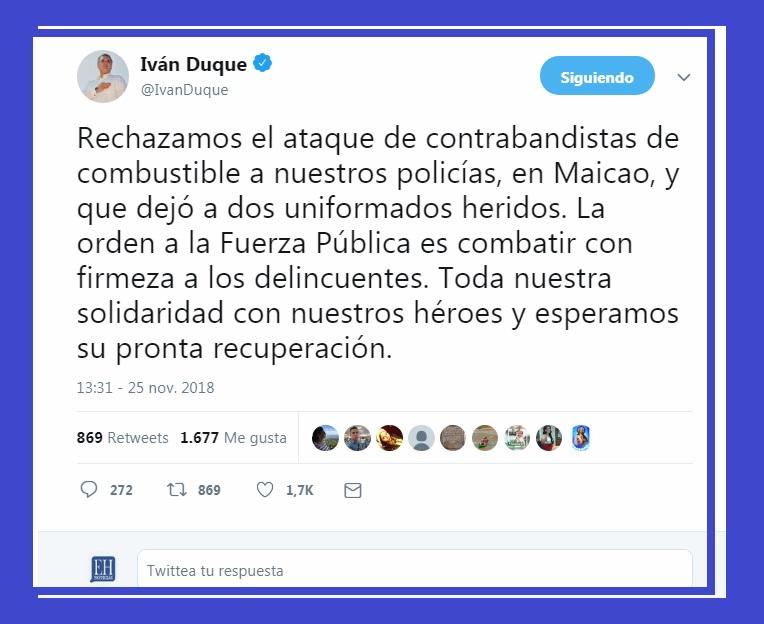 El presidente Iván Duque rechazó el ataque de los contrabandistas de gasolina a un camión de la Policía Fiscal y Aduanera.