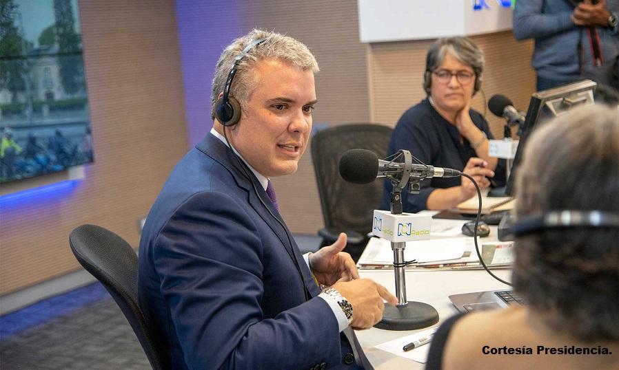 Presidente Iván Duque, durante la entrevista concedida a RCN Radio Noticias.