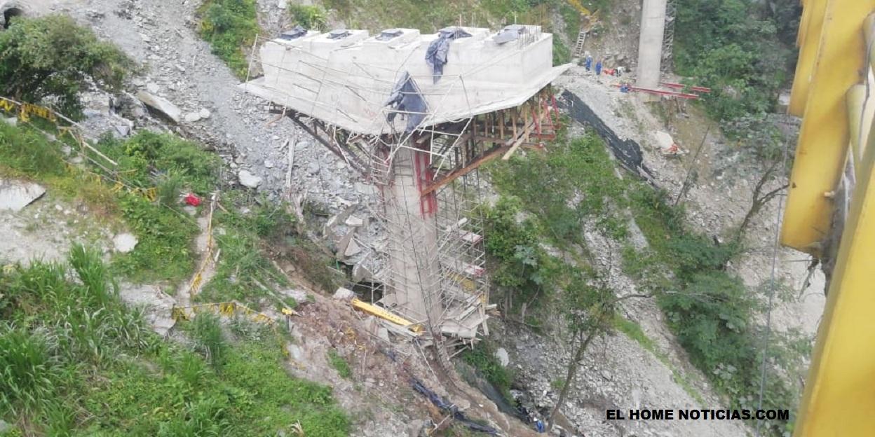 Una grúa que movilizaba una carga pesada chocó con un andamio y produjo la caída de los cinco obreros, en el puente La Pala, vía Villavicencio – Bogotá.