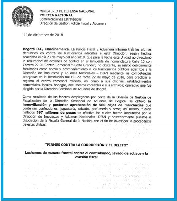 """Con este comunicado el general Juan Carlos Buitrago Arias aclara que un grupo de sus policías participaron en una operación de """"registro"""" en el Centro Comercial Puerta Grande."""