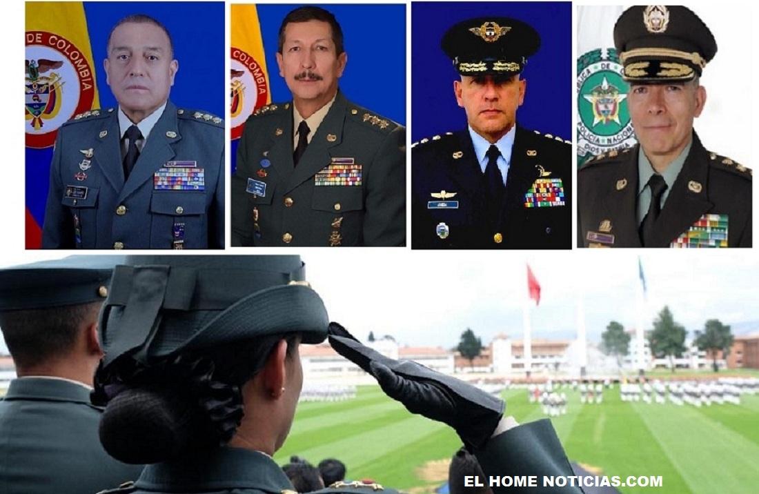 Esta es la nueva cúpula: general Luis Fernando Navarro como comandante de las Fuerzas Militares, al general Nicacio Martínez como comandante del Ejército, al almirante Evelio Martínez como comandante de la Armada Nacional, al general Ramsés Rueda como comandante de la Fuerza Aérea y al general Óscar Atehortúa como nuevo director de la Policía.