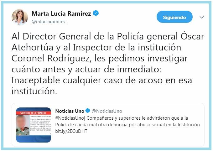 La vicepresidente publicó en su cuenta de Twitter que el director de la Policía inicie la investigación del caso denunciando por una teniente del Cesar.