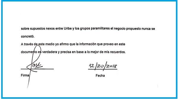 Esta es la firma de la carta con fecha del 20 de diciembre del 2018, que dio a conocer W Radio, en la que denuncia un supuesto caso de manipulación para declarar en contra de Álvaro Uribe.