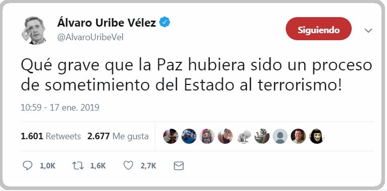 El expresidente y senador, Álvaro Uribe Vélez también se pronunció a través de su cuenta de Twitter.