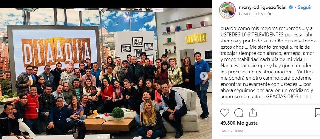 Mensajé de Mónica Rodríguez en su cuenta de Instagram, al despedirse del equipo de trabajo y de los televidentes.