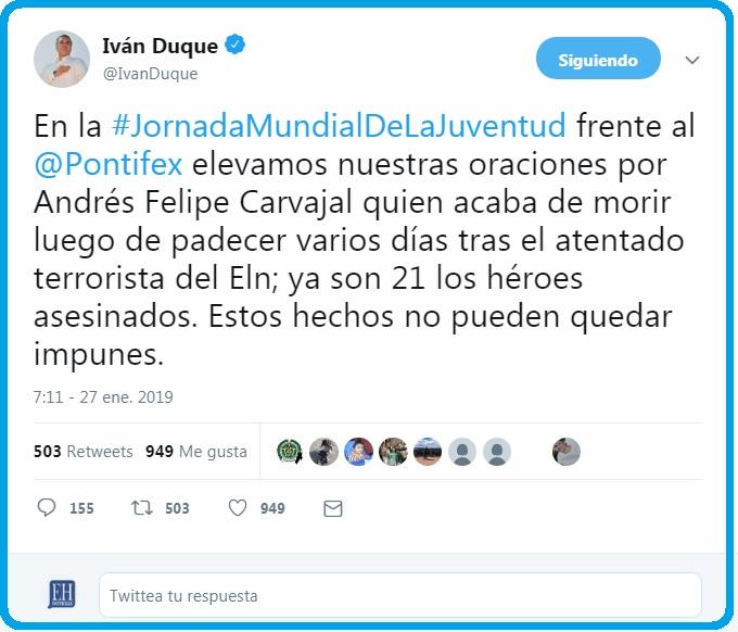 Mensaje del presidente Iván Duque desde Panamá por la muerte del cadete de la Policía Andrés Felipe Carvajal.