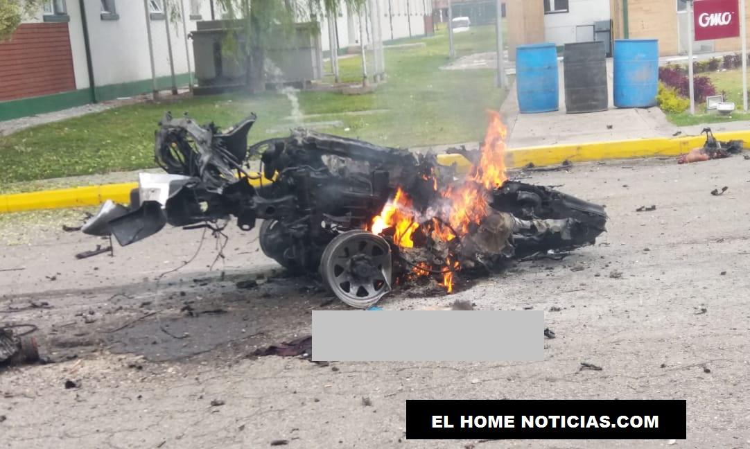 Motor de la camioneta que ingresó cargada de explosivos hasta la parte exterior de los dormitorios de la Escuela General Santander.