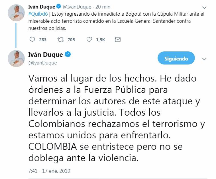 El presidente Iván Duque trinó a través de su cuenta de Twitter que se ha trasladado al lugar del acto terrorista.