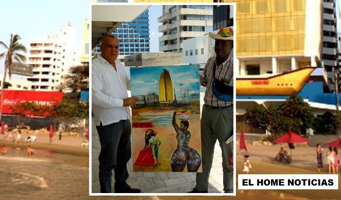 Leonardo Aguaslimpias entregó al empresario Constantino Sánchez García su pintura: 'Cartagena Dubai'.