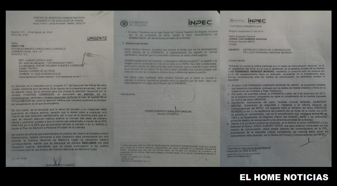 Los documentos en los que el director de La Modelo asegura que la orden de visita a Luis Fernando Andrade la dio el director del Inpec, general Jorge Ramírez.