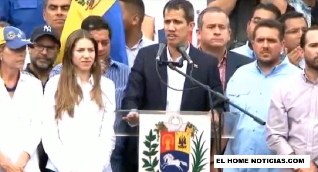El presidente encargado Juan Guaidó le habló a una multitud que salió a recibirlo al aeropuerto de Caracas.