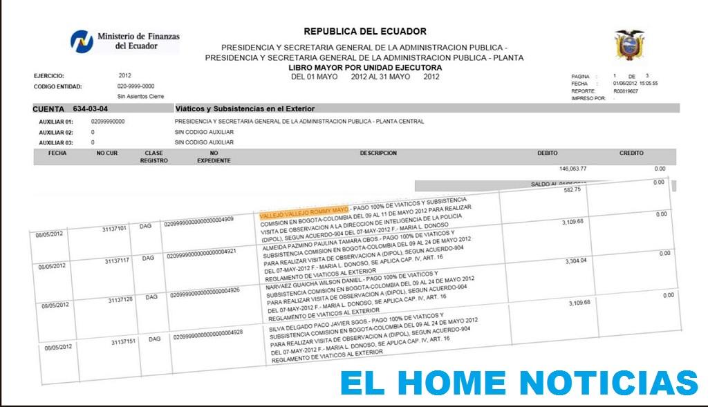 El recibo de pagos de viáticos de uno de los funcionarios del Sinaín de Ecuador, quien se hospedaba en una dependencia de la Policía de Colombia.