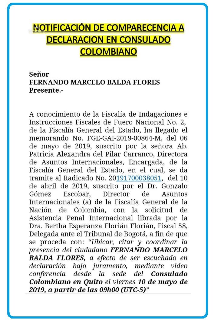 Con este documento se citó este martes a Fernando Balada a declarar los hechos rodearon su secuestro en Bogotá.
