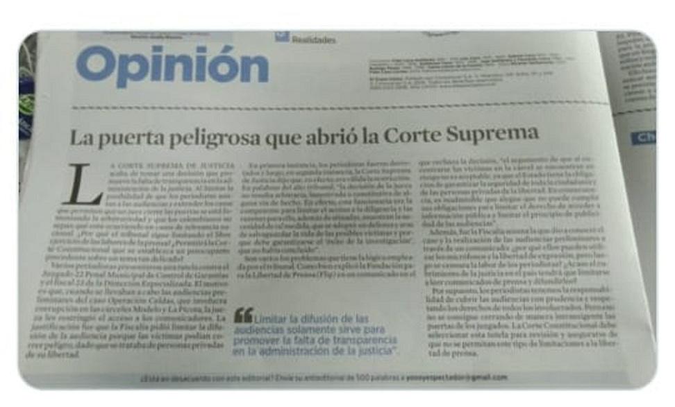 Editorial de EL ESPECTADOR, ante la respuesta de la Corte Suprema de Justicia, que niega la entrada de los periodistas a las audiencias públicas.