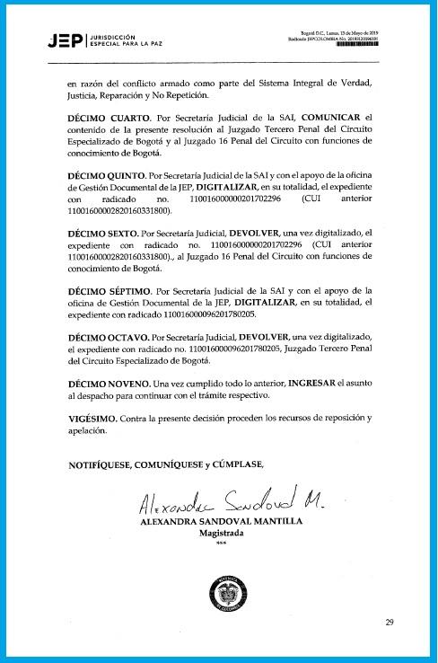Esta es la decisión de la JEP que concede la libertad condicional a Paola Parra y Mauricio Parra por el delito de lavado de activo.