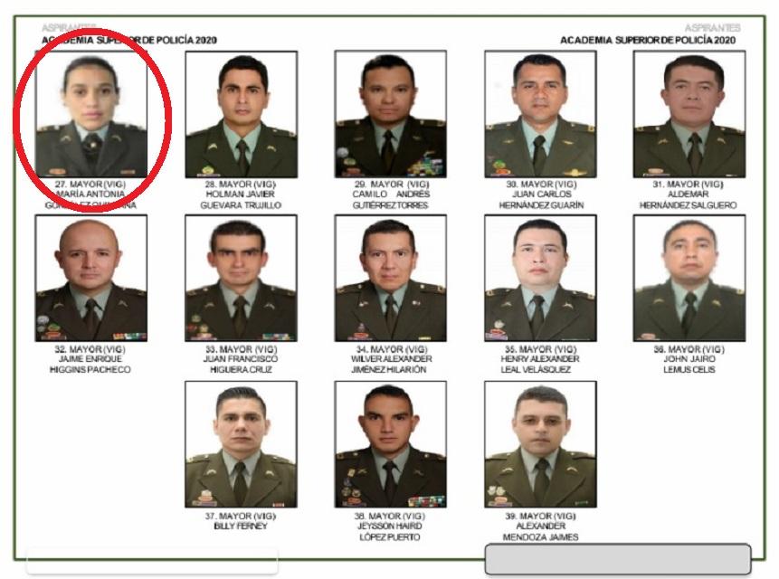 Este hace parte del listado del curso de mayores que serán tenidos en cuenta para la evaluación de los que podrían ascender a Teniente Coronel. De primeras aparece la mayor María Antonia González Quintana.