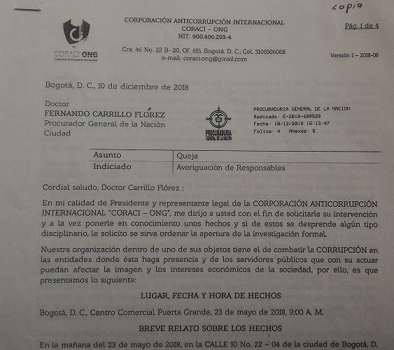 Denuncia de la ONG Corporación Anticorrupción Internacional (Coraci), en contra de la Policía Fiscal y Aduanera.