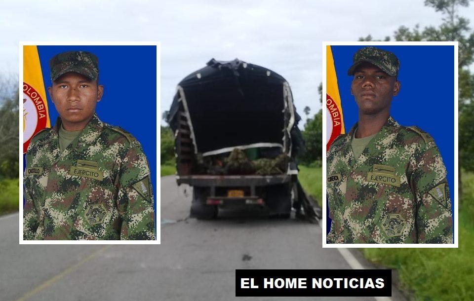 Los soldados Fredy José Castillo López, de San Andrés de Sotavento (Córdoba) y Luis David Canencia Venecia, de Cartagena (Bolívar), murieron en un ataque con explosivos que hicieron disidentes de las Farc en Tame (Arauca).