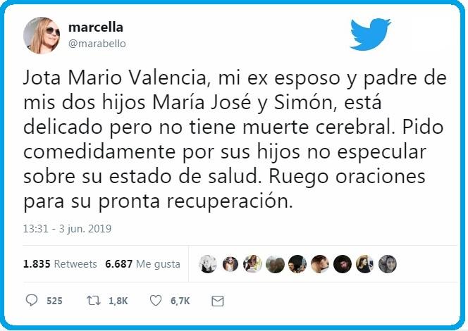 Con este mensaje en su cuenta de Twitter Marcela Abello aclaró la situación de salud de Jota Mario Valencia.