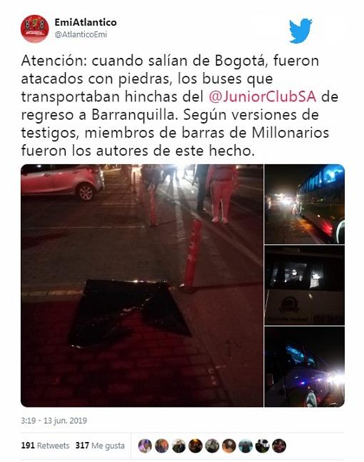 Con este Twitter Emisora Atlántico de Barranquila dio a conocer el ataque a la caravana de los buses de aficionados del Junior.