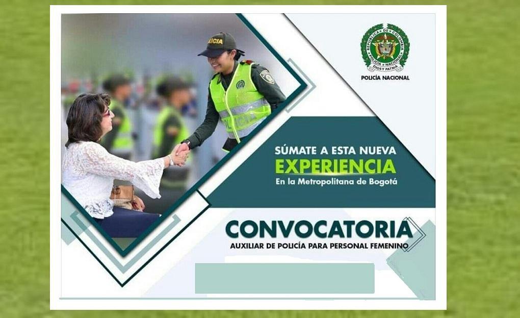 Convocatoria para personal femenino como auxiliares de Policía.