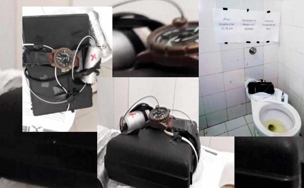 Lo que sería un artefacto explosivo fue dejado en el baño del quinto piso del Bloque D de la Universidad del Atlántico. Con él, un letrero que alertaba de una bomba.