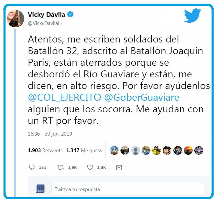 La periodista Vicky Dávila alertó a través de su cuenta de Twitter, de la situación de emergencia en el Batallón de Infantería Joaquín París.