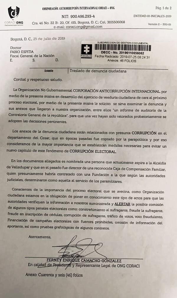 Esta es una denuncia de la ONG Corporación Anticorrupción Internacional de presuntas irregularidades electorales en el Cesar.