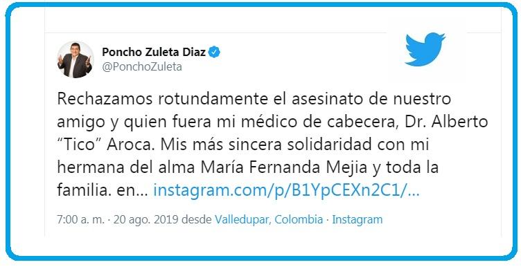 El cantante 'Poncho' Zuleta rechazó el asesinato del médico pediatra, Alberto Aroca Saad.