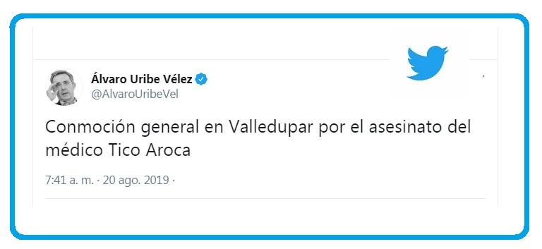 El expresidente Álvaro Uribe Vélez lamentó la muerte del médico de Valledupar, Alberto 'Tico' Aroca.