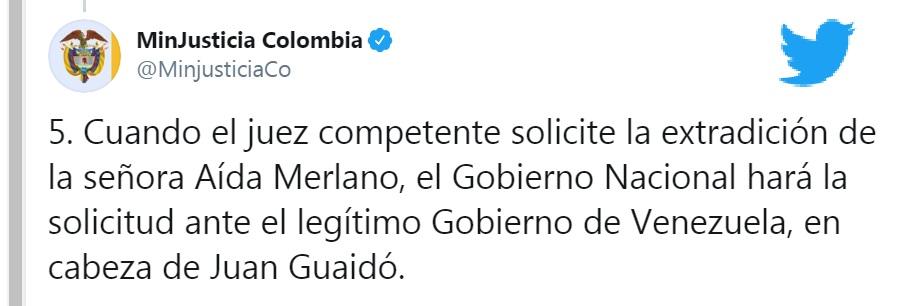Twitter del Ministerio de Justicia.