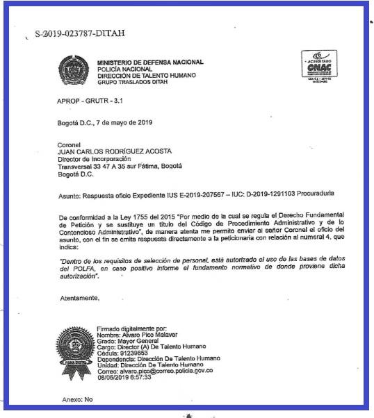 Oficio con el que el general Álvaro Pico, director de Talento Humano, busca aclarar si en la Policía se usó la base de datos de la Polfa para los ascensos de los oficiales.