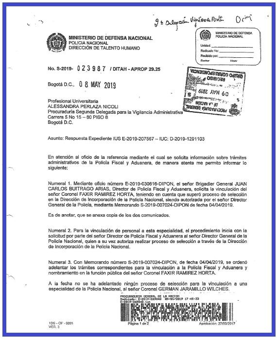 Respuesta del general Álvaro Pico Malaver a la Procuradora delegada, Alessandra Perlaza Nicoli del caso relacionado con la asignación del coronel Faxir Ramírez como subdirector de la POLFA.