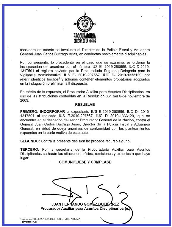 Oficio con el que el procurador delegado, Juan Fernando Gómez, solicita que la investigación en contra del General Juan Carlos Buitrago, se anexe a otra que se encuentra en el despacho del Procurador, Fernando Carrillo. Prueba de que si existe la investigación.