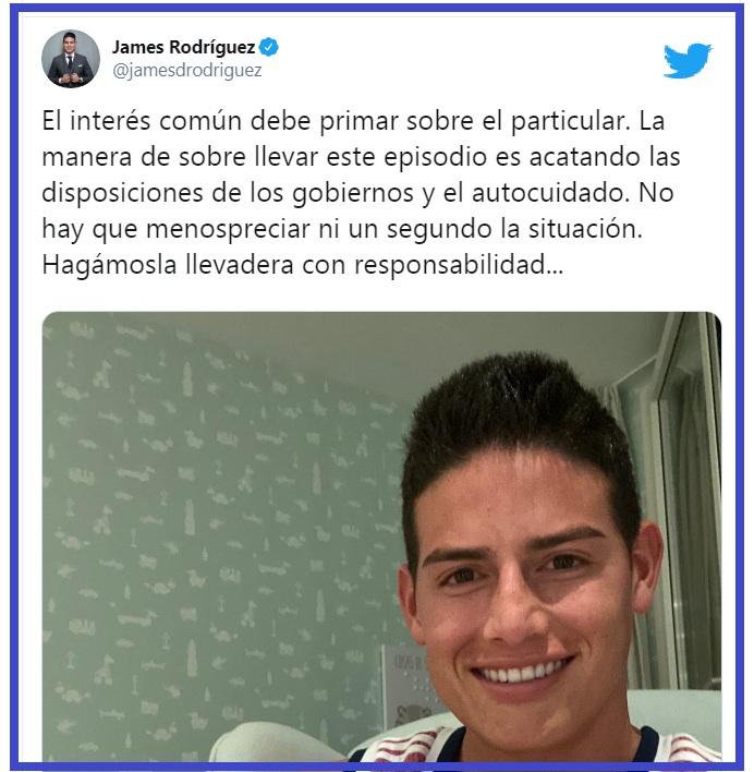 Twitter de James.