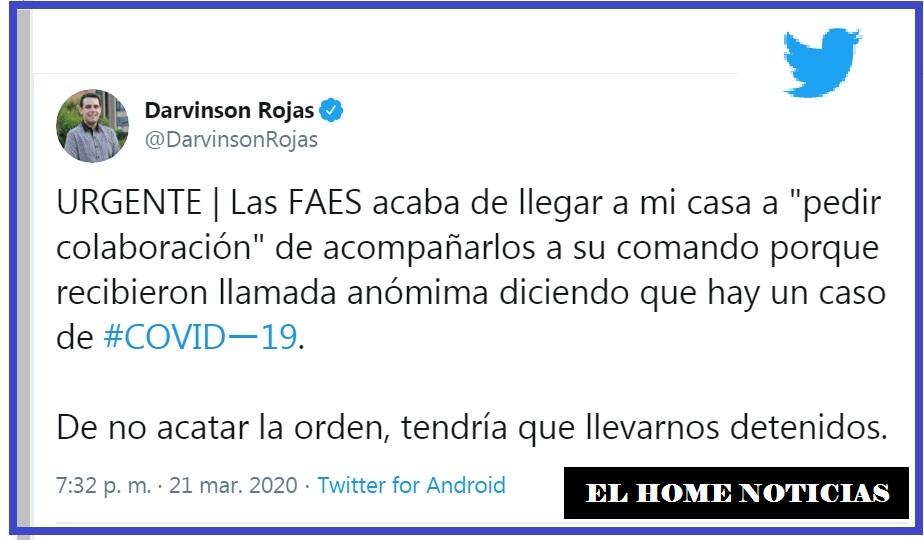 Twitter de Rojas, en Caracas.