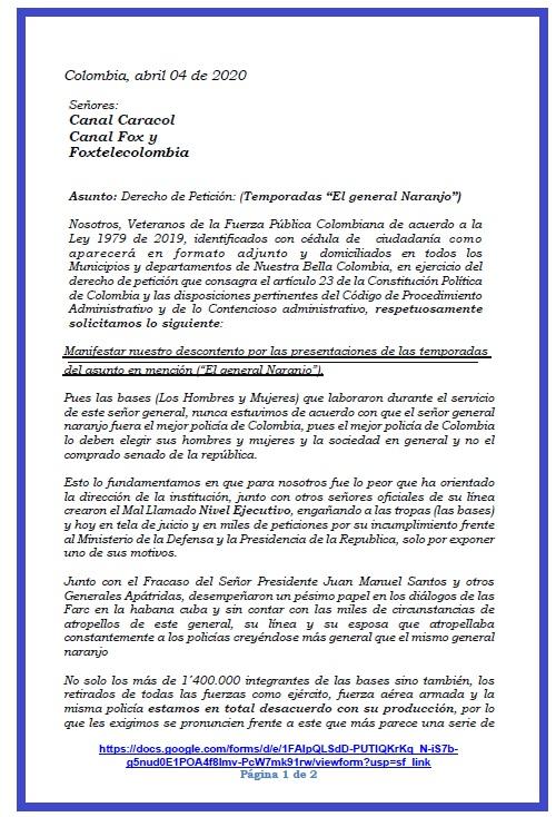 """Este fue el Derecho de Petición que enviaron los promotores de la APAGATÓN, que respondió con """"evasivas"""" el canal FOX."""