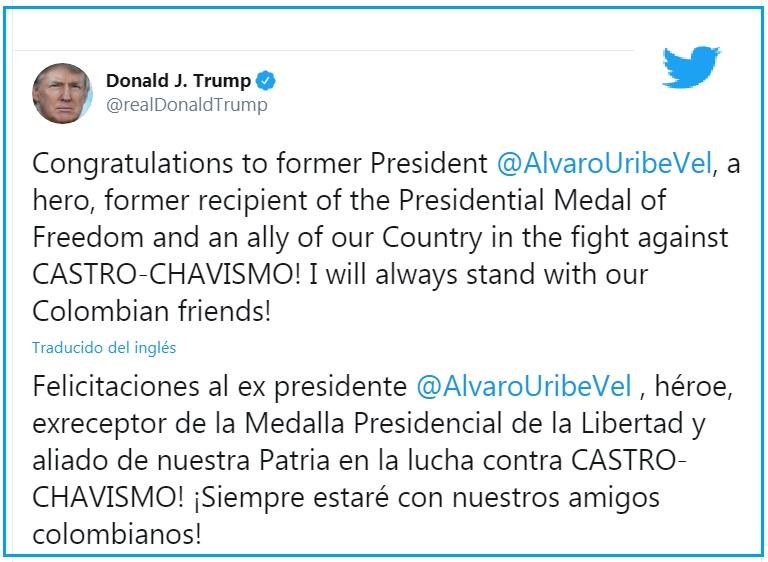 ´Donald Trump y Álvaro Uribe.