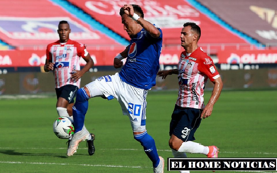 Con un pase de Macalister Silva, Fernando Uribe con un remate mordido puso el 1-1 en el minuto 19. (Foto Cortesía: Dimayor)