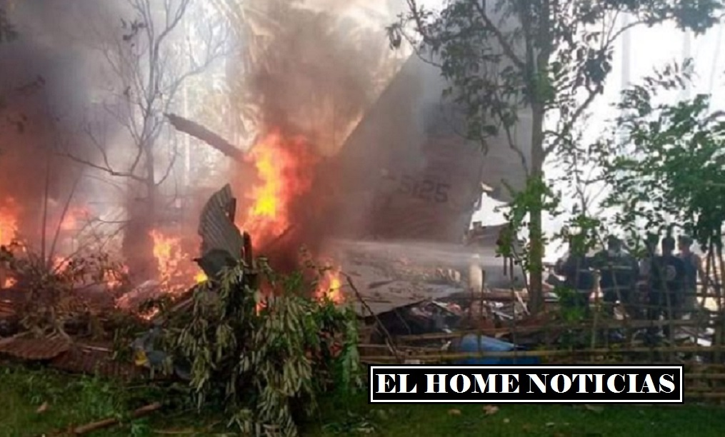 El avión C-130 de Filipinas se incendió al estrellarse cuando realizaba la operación de aterrizaje en la isla de Jolo.
